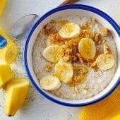 Banana oatmeal with honey, walnuts and cinnamon