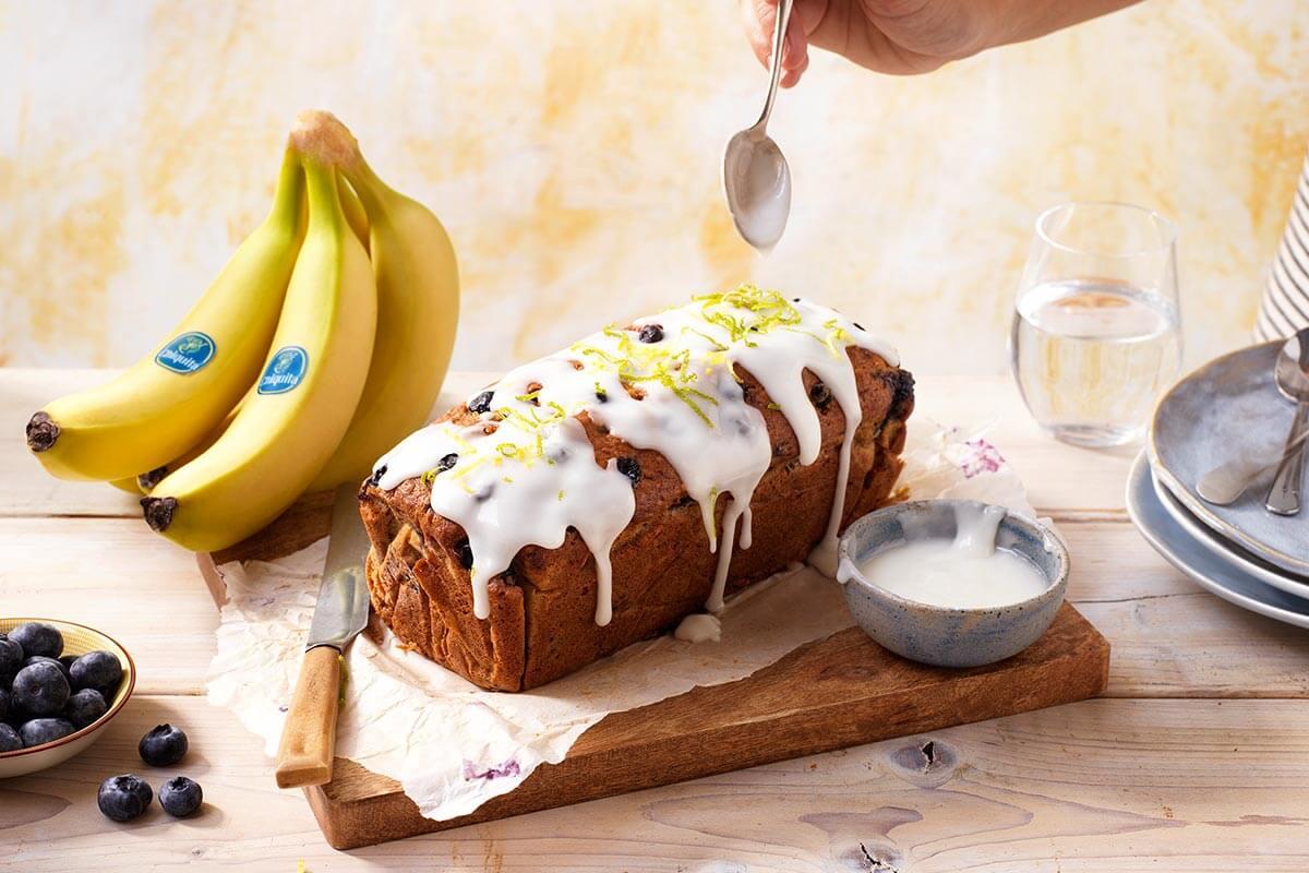 Blueberry Chiquita banana bread with lemon glaze