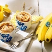 Chiquita banana cinnamon roll in a mug