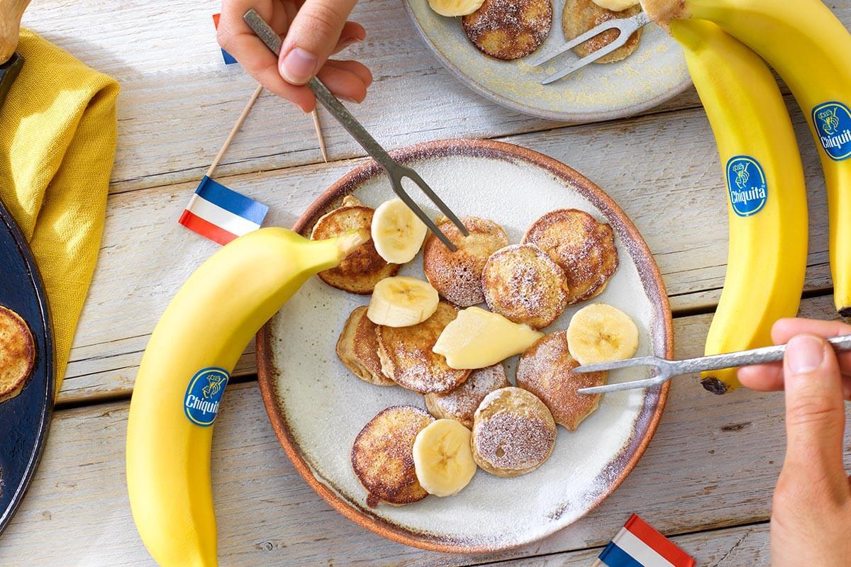 Chiquita banana Dutch Egg poffertjes (mini pancakes) with buckwheat flower