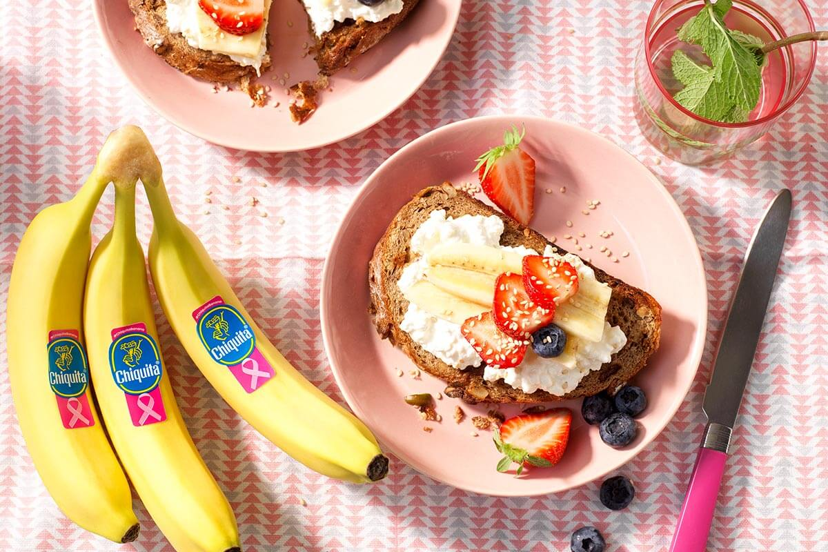 Chiquita banana muesli toast with non-fat cottage cheese