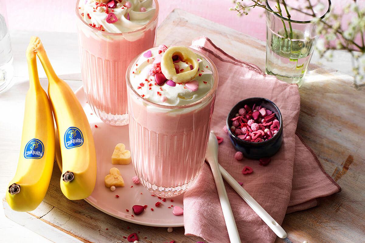 Chiquita banana pink hot chocolate for Valentine's day