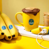 Chocolate and Chiquita banana peanut butter mug cake