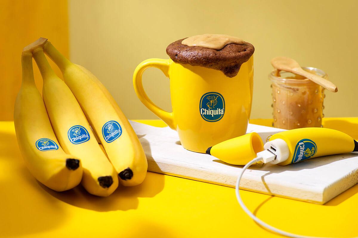 Chocolate and Chiquita banana peanut butter mug cake