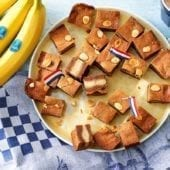 Filled Dutch speculaas with Chiquita banana and almond paste and almonds on top