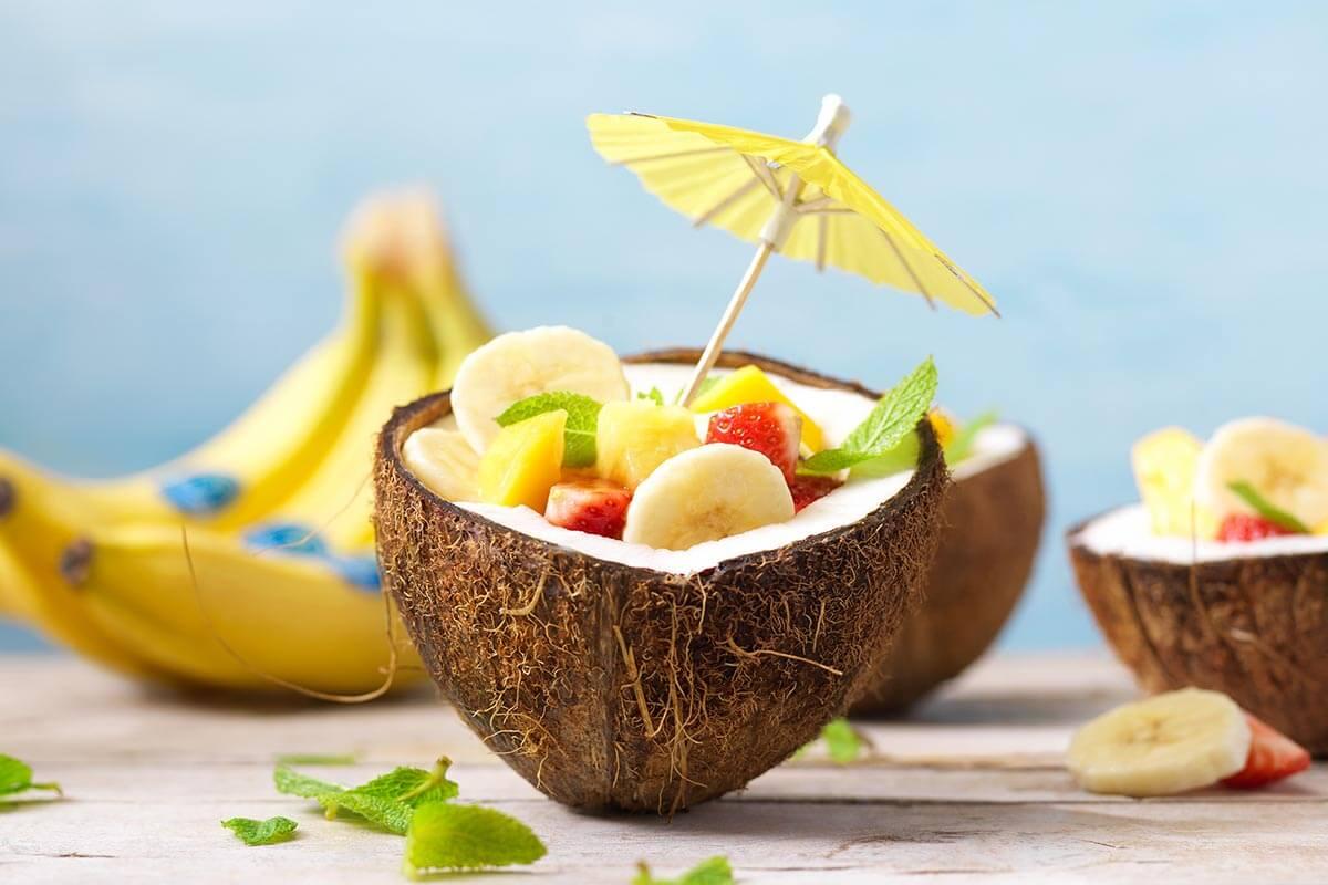 Fruit salad in coconut bowls