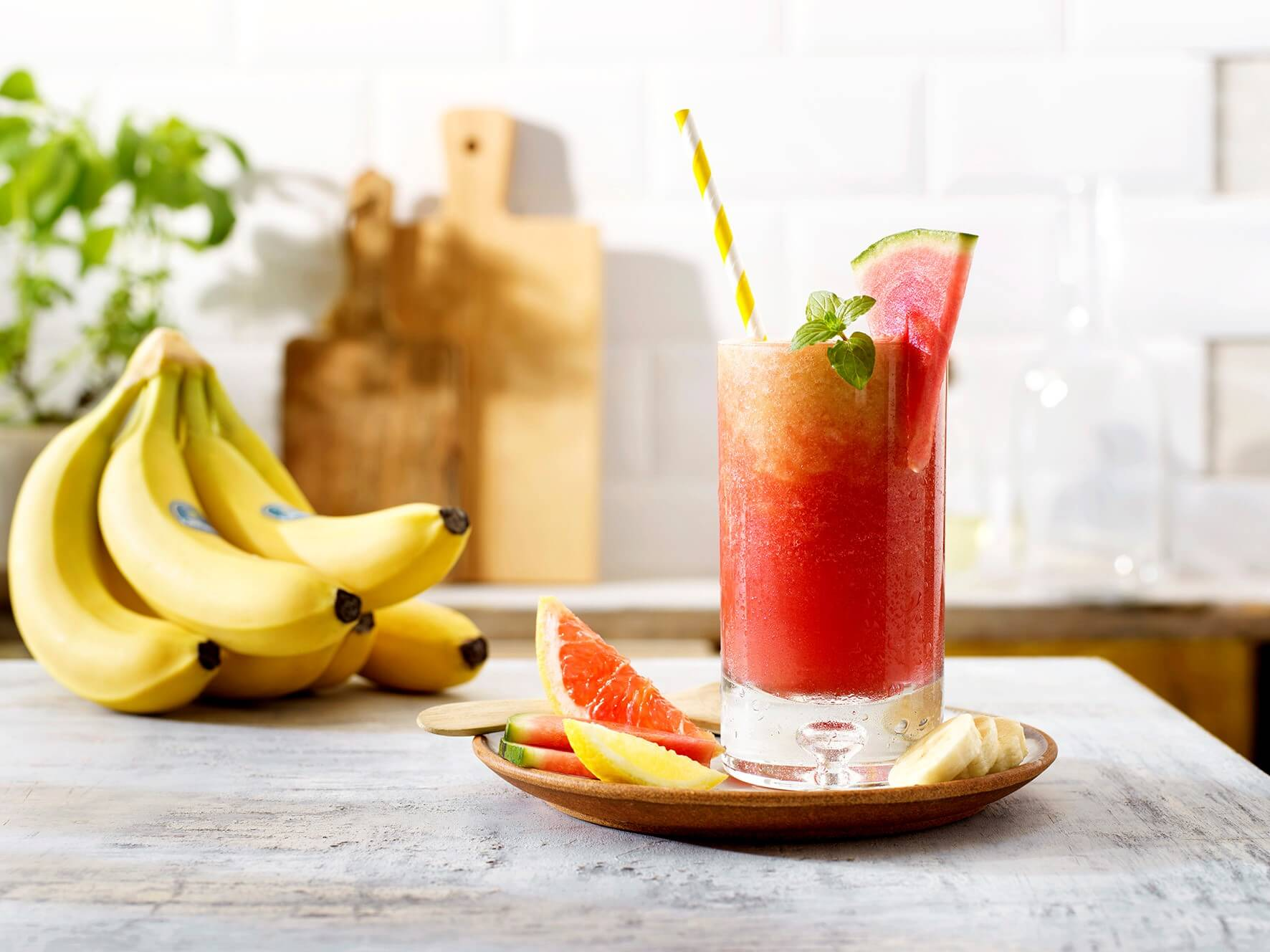 Pink Sunrise mocktail with Chiquita bananas and watermelon