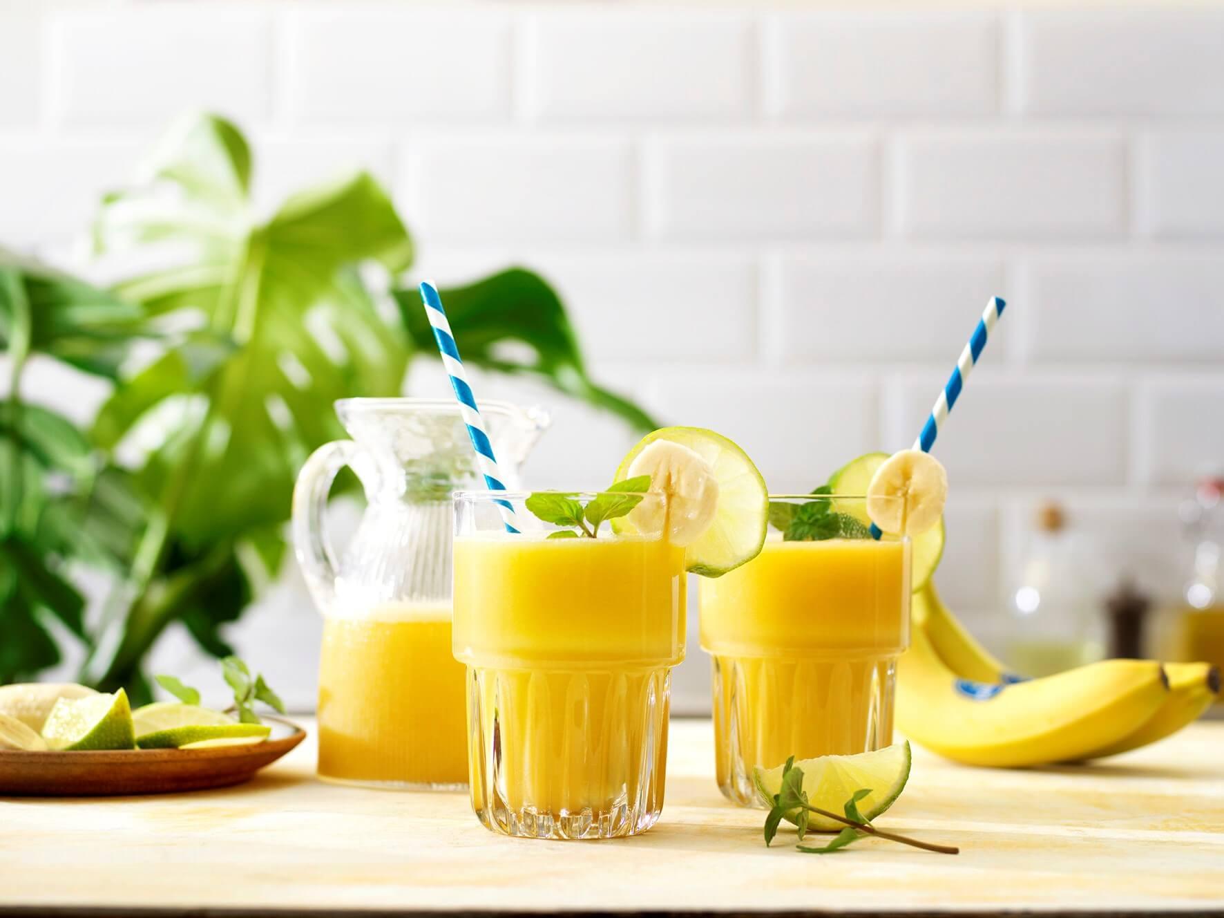 Tropical banana colada shake with coconut water
