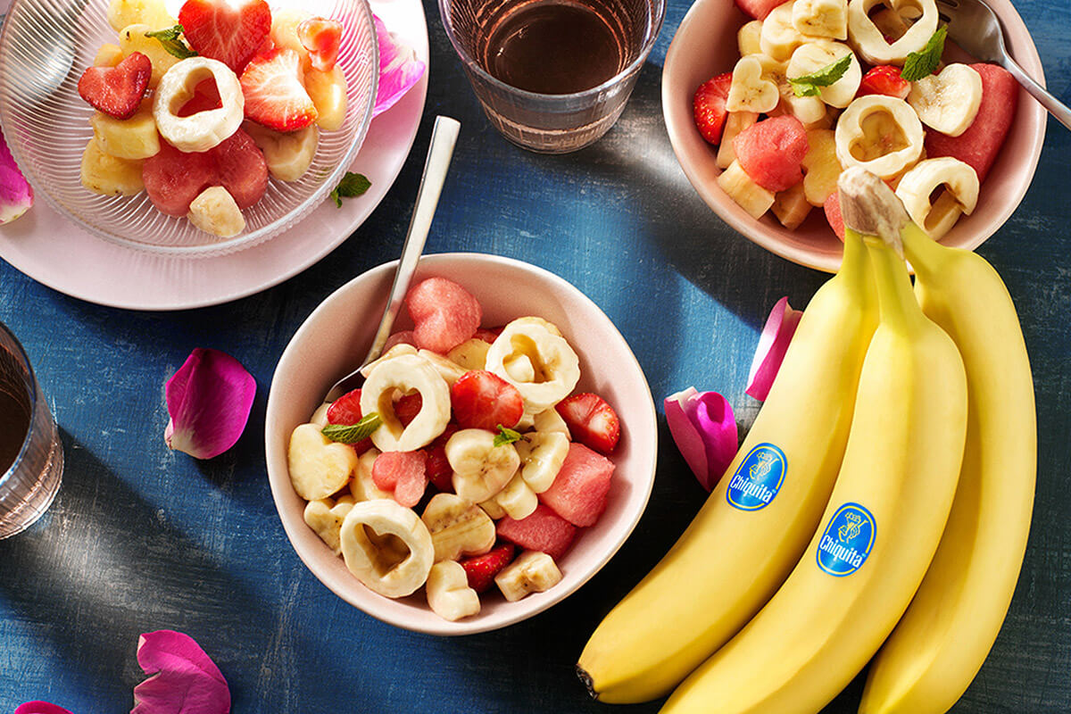 Heart-shaped Valentine's day fruit salad with Chiquita banana