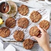 Oatmeal Chiquita Banana cookies with dark chocolate