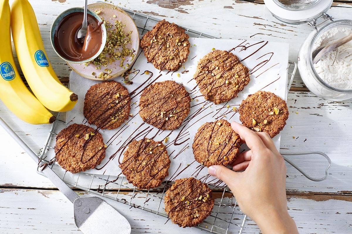Oatmeal Chiquita Banana cookies with dark chocolate