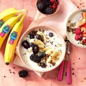 Quinoa breakfast bowl with Chiquita banana and non-fat greek yogurt