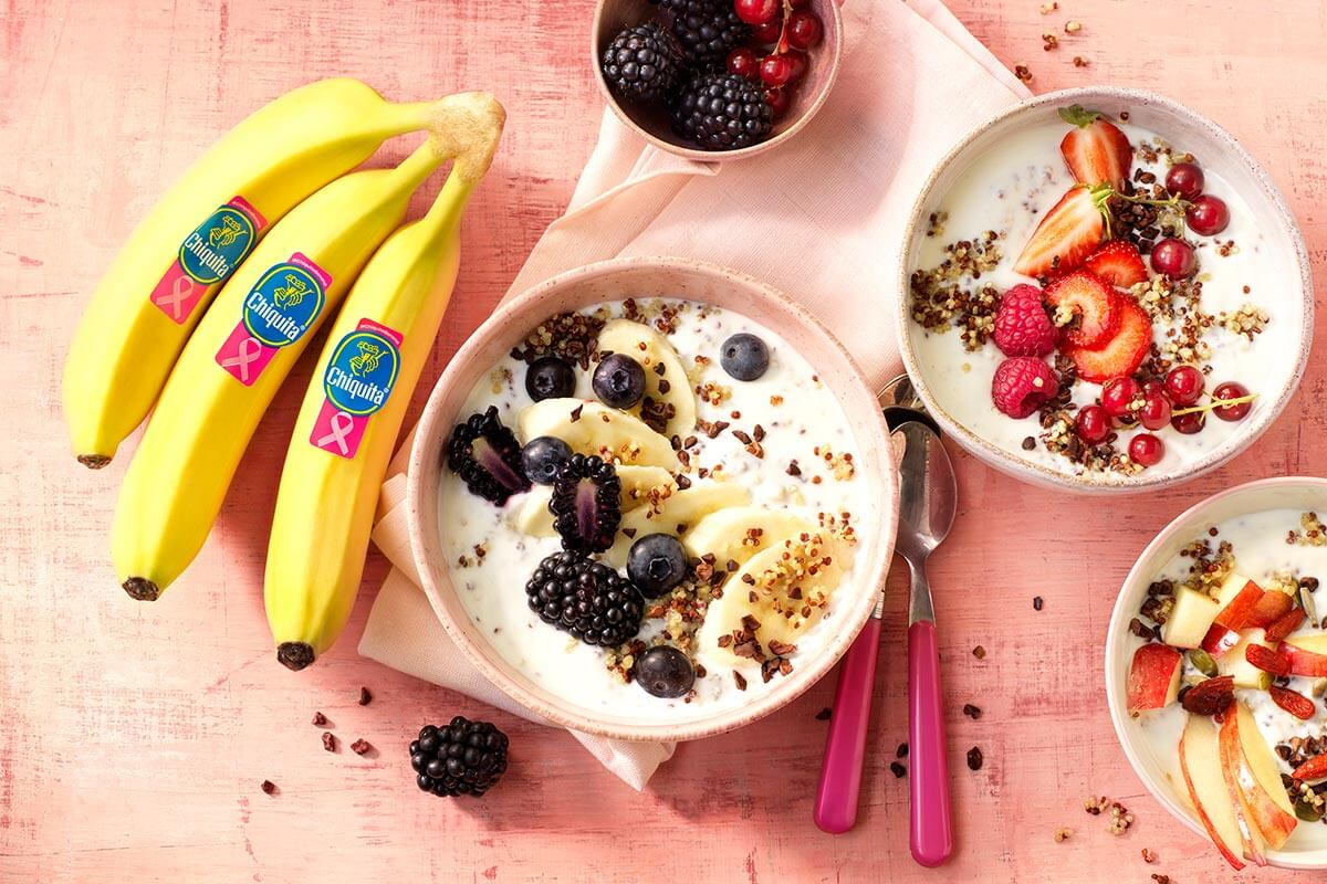 Quinoa breakfast bowl with Chiquita banana and non-fat greek yogurt