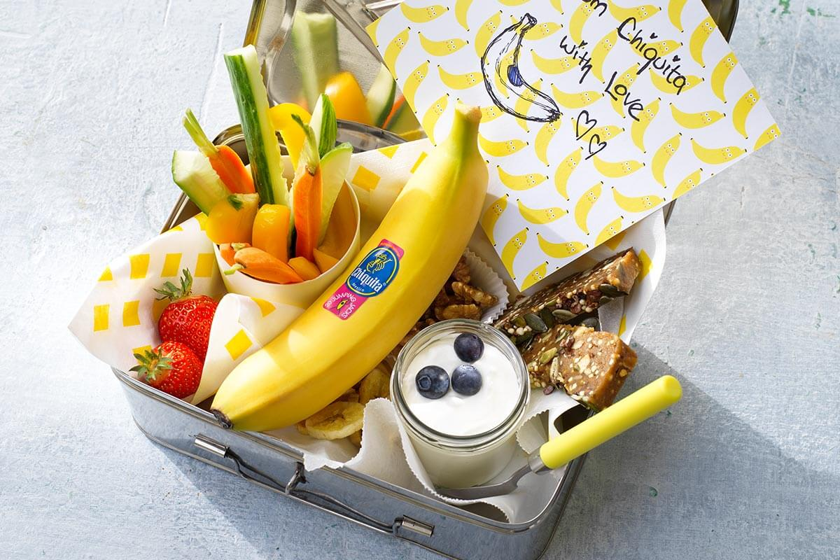 Snackbox with Chiquita banana chips, veggies, fruits and nuts.