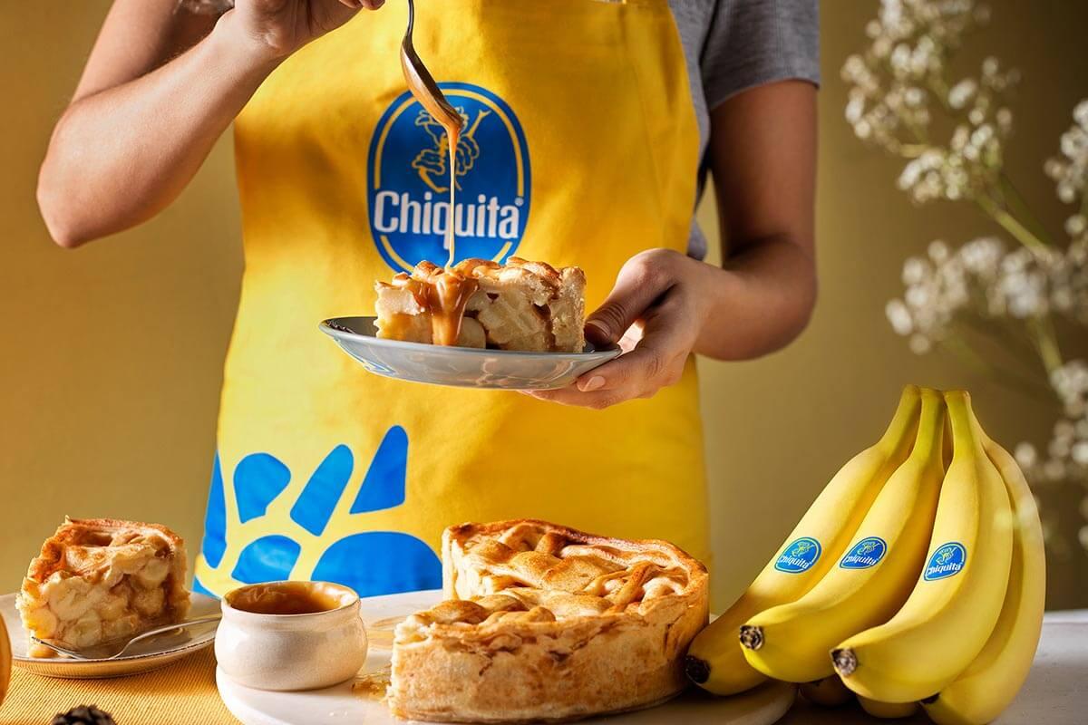 Thanksgiving caramel Chiquita banana pie