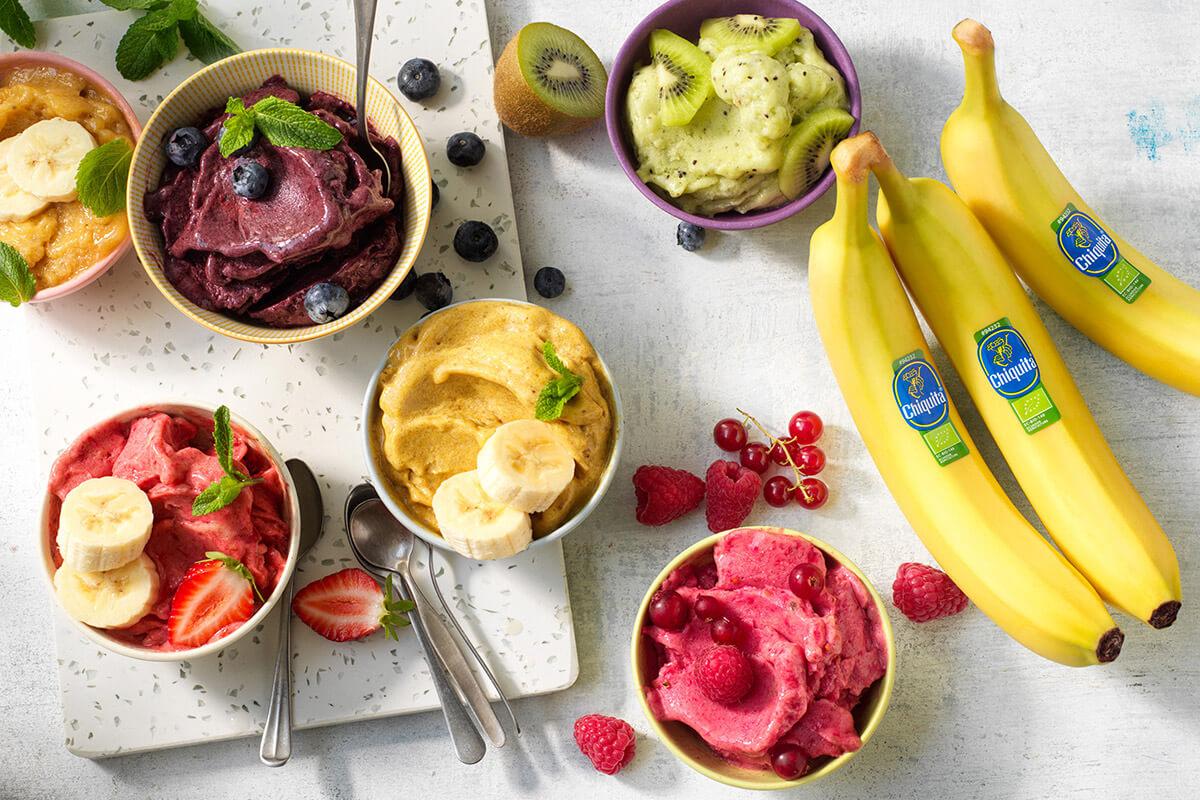Vegan ice cream with Chiquita banana scoops, matcha, kiwi and berries
