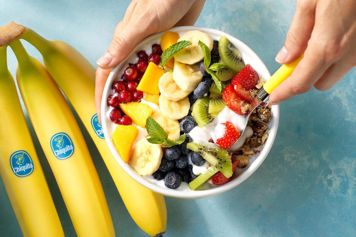Vegan rainbow bowl with Chiquita banana and fresh fruits