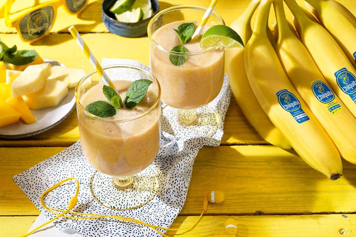 Tropical Chiquita banana smoothie with yogurt