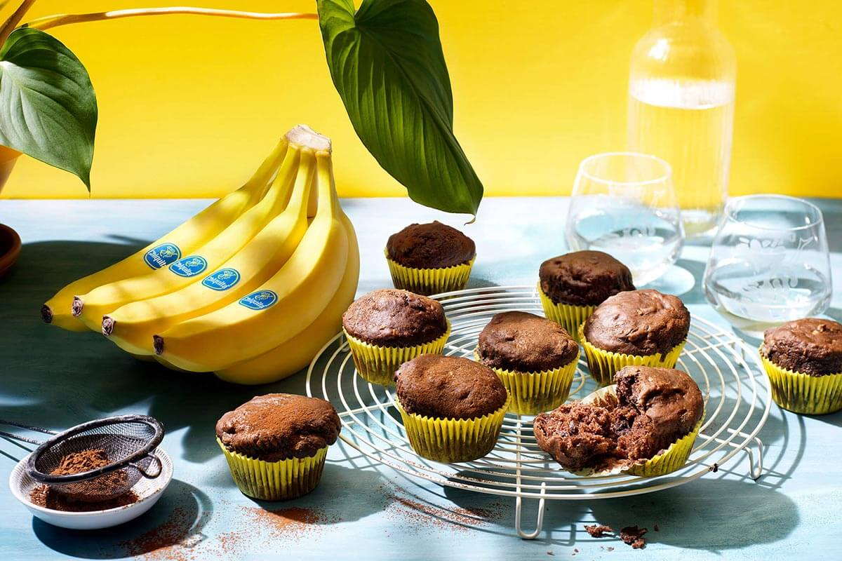 Vegan Chiquita banana chocolate muffins