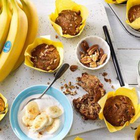 Vegan Chiquita banana pecan muffins