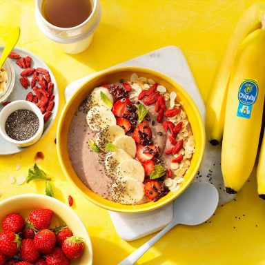 Mindfulness Strawberry and Chiquita Banana Vegan Protein Smoothie Bowl