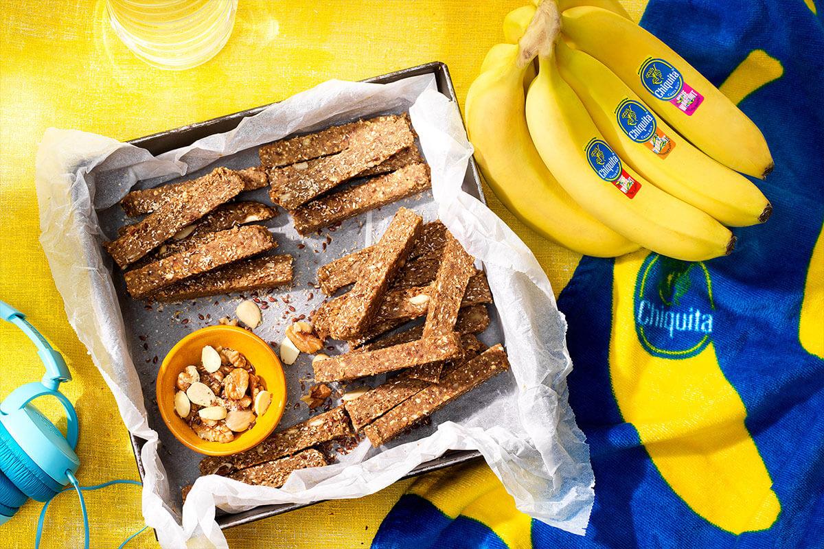 No-Bake Chiquita Banana Nut Diamond Protein Bars