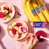 Chiquita banana sorbet with fresh raspberry sauce