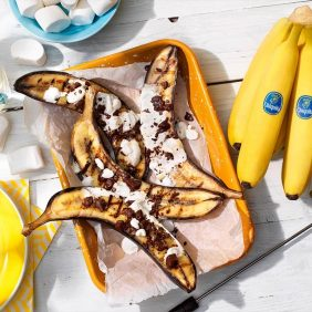 Chocolate and marshmallow stuffed BBQ Chiquita bananas