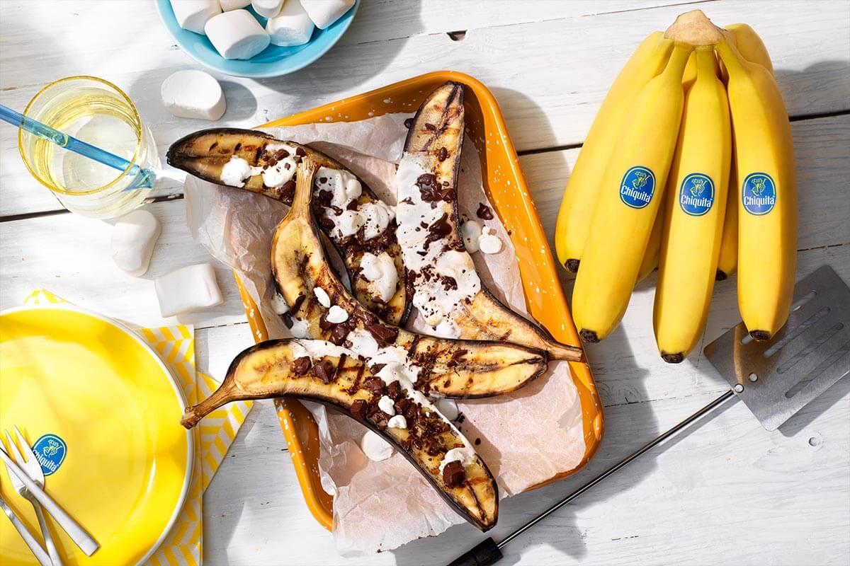Chocolate and marshmallow stuffed BBQ Chiquita bananas