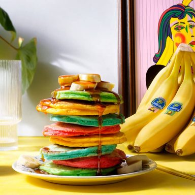 Colorful Fluffy Chiquita Banana Pancakes
