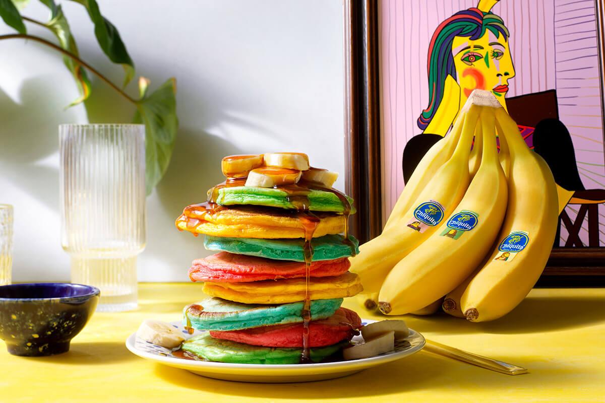 Colorful Fluffy Chiquita Banana Pancakes