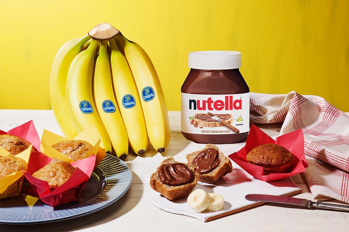 Chiquita® Banana Buttermilk Breakfast Muffins with Nutella® hazelnut spread