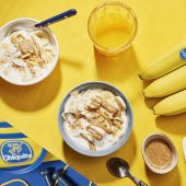 Pre-workout almond butter banana coconut energy bowl by Chiquita