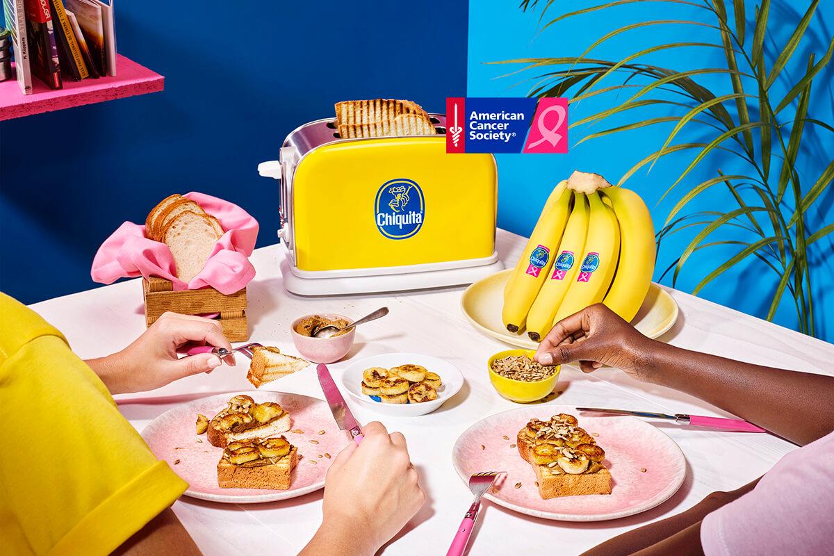 Vegan Chiquita banana and sunbutter toast with sunflower seeds